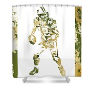 Aaron Rodgers Green Bay Packers Water Color Art 1 Shower Curtain