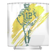 Aaron Rodgers Green Bay Packers Water Color Art 4 Shower Curtain