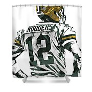 Aaron Rodgers Green Bay Packers Pixel Art 5 Shower Curtain