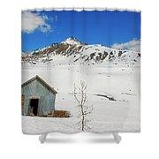 Abandon Building Alaskan Mountains Shower Curtain