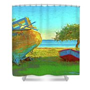 Abandoned Boats On Choctawhatchee Bay Shower Curtain