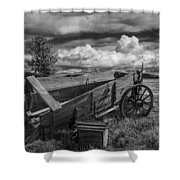 Abandoned Broken Down Frontier Wagon In Black And White Shower Curtain