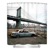 Abandoned Car And Manhattan Bridege Shower Curtain