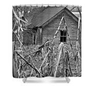 Abandoned Farmhouse Through Cornfield Shower Curtain