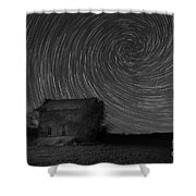 Abandoned House Spiral Star Trail Bw  Shower Curtain