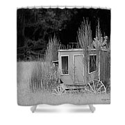Abandoned In The Field Black And White Shower Curtain