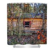 Abandoned Log Cabin Shower Curtain