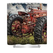 Abandoned Old Farmall Tractor In A Grassy Field Shower Curtain