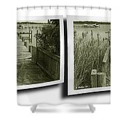 Abandoned Pier - Gently Cross Your Eyes And Focus On The Middle Image Shower Curtain