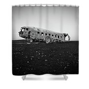 Abandoned Plane On Beach Shower Curtain
