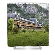 Abandoned Side Of The Canfranc International Railway Station Shower Curtain