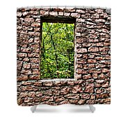 Abandoned Stone Wall With Window Shower Curtain