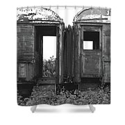 Abandoned Train Cars B Shower Curtain