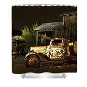 Abandoned Truck And School Bus In Ghost Town Shower Curtain