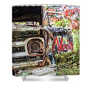 Abandoned Truck With Spray Paint Shower Curtain