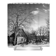 Abandoned Wooden Shack In Winter Shower Curtain