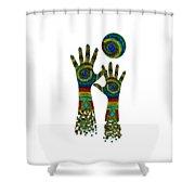 Aboriginal Hands Gold Transparent Background Shower Curtain