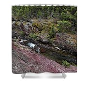Above Redrock Falls Shower Curtain
