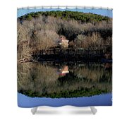 Above The Waterfall Reflection Shower Curtain