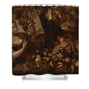 Abraham Brueghel After, Girl With Grapes And Still Life With Fruit. Shower Curtain