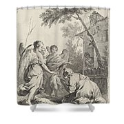 Abraham Kneeling Before The Three Angels Shower Curtain