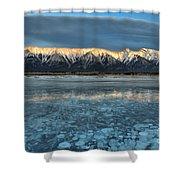 Abraham Lake Ice Bubble Sunset Shower Curtain