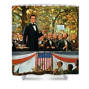 Abraham Lincoln And Stephen A Douglas Debating At Charleston Shower Curtain by Robert Marshall Root