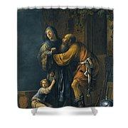 Abraham Pleading With Sarah On Behalf Of Hagar Shower Curtain