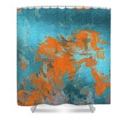 Abstract 104 Digital Oil Painting On Canvas Full Of Texture And Brig Shower Curtain