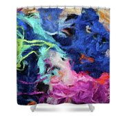 Abstract 130 Digital Oil Painting On Canvas Full Of Texture And Brig Shower Curtain