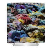 Abstract 133 Digital Oil Painting On Canvas Full Of Texture And Brig Shower Curtain