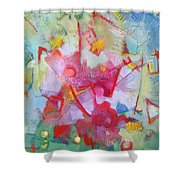 Abstract 2 With Inscribed Red Shower Curtain
