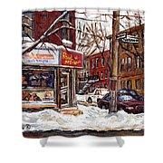 Rue De Pointe St Charles En Hiver Scenes De Rue De Montreal Peinture Originale A Vendre Paul Patates Shower Curtain