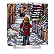 En Route Vers L'ecole Escaliers De Montreal Scenes De Ville Peintures A Vendre Shower Curtain