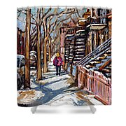 Scenes De Ville De Montreal En Hiver Original Quebec Art For Sale Montreal Street Scene Shower Curtain