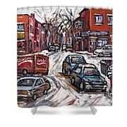Ville Emard En Peinture Scenes De Ville De Montreal En Hiver Petit Format A Vendre Shower Curtain