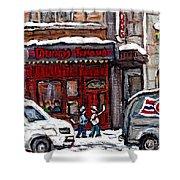 Dunn's Famous Deli Downtown Montreal Scenes De Rue Montreal Centre Ville En Hiver Joueur De Hockey Shower Curtain