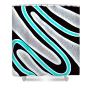 Abstract 35 Silver Blue Turquoise Shower Curtain