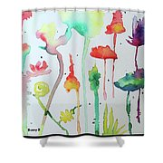 Blob Flowers Shower Curtain