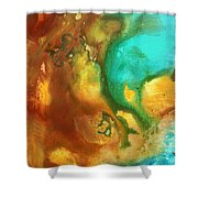 Abstract Art Colorful Turquoise Rust River Of Rust I By Madart  Shower Curtain