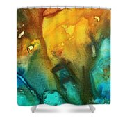Abstract Art Colorful Turquoise Rust River Of Rust IIi By Madart Shower Curtain by Megan Duncanson