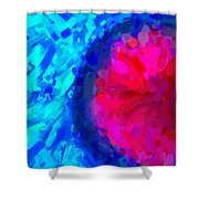 Abstract Art Combination - The Pink Martian Crater, Ca 2017, By Adam Asar ,  In 3d Watercolor Shower Curtain