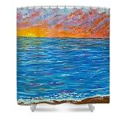 Abstract Art- Flaming Ocean Shower Curtain