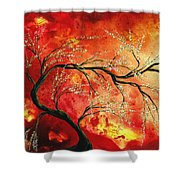 Abstract Art Floral Tree Landscape Painting Fresh Blossoms By Madart Shower Curtain