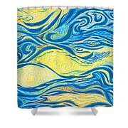 Abstract Art Good Morning Contemporary Modern Artwork Giclee Fine Art Prints Life Cycle Swirls Water Shower Curtain