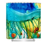 Abstract Art - Journey To Color - Sharon Cummings Shower Curtain