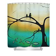 Abstract Art Landscape Bird Painting Family Perch By Madart Shower Curtain