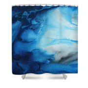 Abstract Art Original Blue Pianting Underwater Blues By Madart Shower Curtain by Megan Duncanson