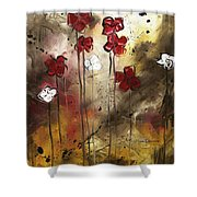 Abstract Art Original Flower Painting Floral Arrangement By Madart Shower Curtain
