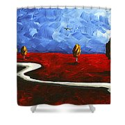 Abstract Art Original Landscape Painting Winding Road By Madart Shower Curtain